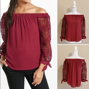 Express | Off The Shoulder Tie Sleeve Blouse | XS